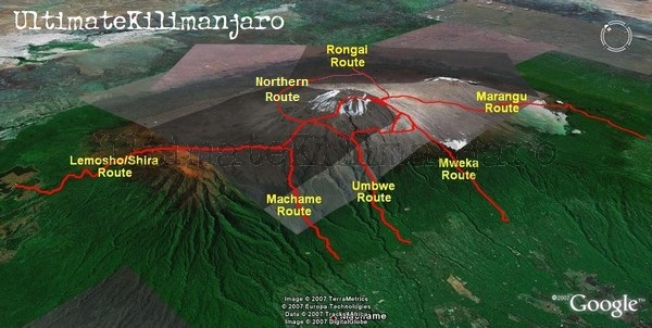 beklimming van de kilimanjaro routes