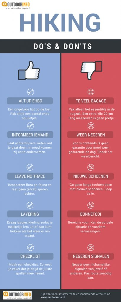 Hiking Do's en Don'ts Infographic
